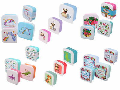 Plastic Lunch Boxes Kids Childrens Sandwich Snack Food Storage Box - Set of 3