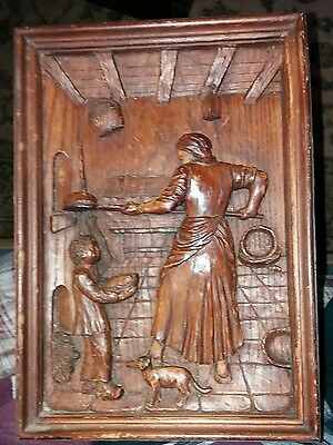 SIGNED VINTAGE FRENCH Hand Carved Oak Diorama - Woman and Boy in Bakery -