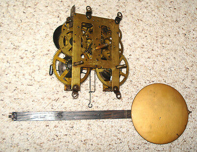 E. Ingraham Long Drop T&s Wall Clock Movement With Pendulum For Parts Or Repair