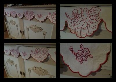 LOT 2 Vintage French HAND Embr SHELF TRIMs Borders  64 & 40Ins x 7INS RED ROSES