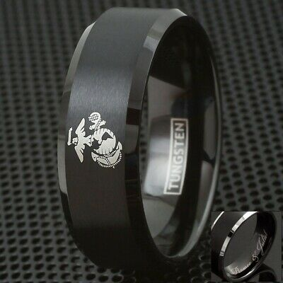 8mm Tungsten Men's Marine Corps Black Polished Wedding Band - Engravable