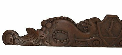 French Antique Large Hand Carved Wood Pediment Cornice - Griffin Dragon Shield
