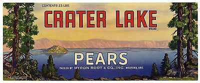 CRATER LAKE Brand, Medford, Oregon **AN ORIGINAL PEAR CRATE LABEL** B28