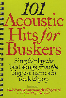 101 Acoustic Hits for Buskers Guitar / Keyboard Music Book Chord Melody Songbook