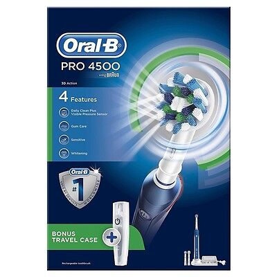 Braun Oral-B Pro 4500 3D Cross Action Rechargeable Toothbrush with Travel Case