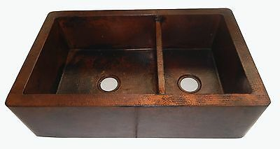Apron Front Farmhouse Kitchen Double Bowl Mexican Copper Sink Stained 60/40 #15