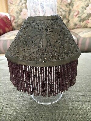 Antique Pierced Brass Lamp Shade With Glass Beaded Fringe