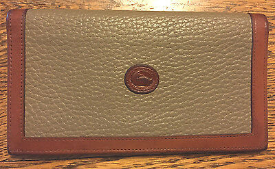 Dooney & Bourke Vintage Checkbook Cover in Tan and Saddle