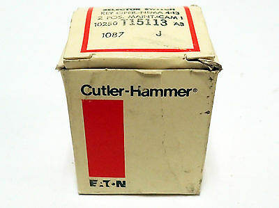 CUTLER-HAMMER 10250T15113 KEY OPERATED 2 POSITION SELECT SWITCH w/ KEYS BNIB NOS