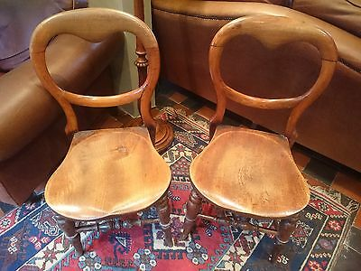 Pair Victorian Mahogany balloon back dining chairs