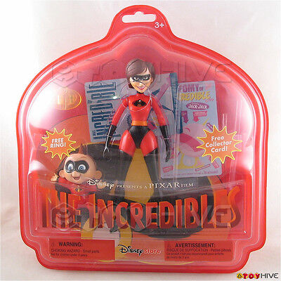 Disney Pixar The Incredibles Elastigirl Helen Parr & Jack-Jack figures ring card