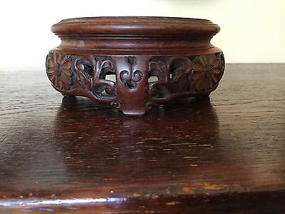 Antique Chinese Carved Wooden Vase Stand 4 Ins