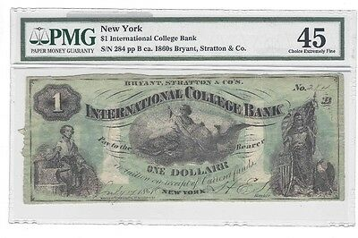 $1 International College Bank Note, New York, 1860's Pmg-45