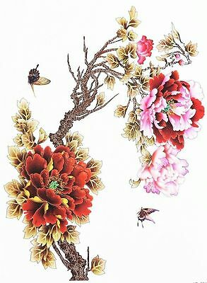Autum Pink and Ruby Red Flowers  Temporary Tattoos  Body Art 3D Waterproof