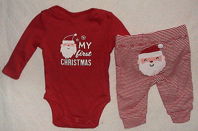 My First Christmas-Carter's Red & White 2 Piece Outfit-Size Newborn-Nwt