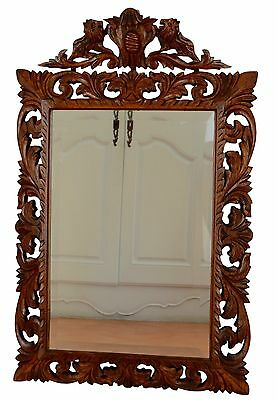 French Antique Large Black Forest Carved Wood Mirror Wall Hanging Lion Pediment