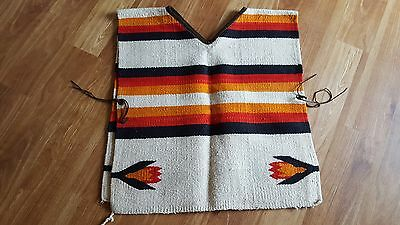Vintage Mexican Rug Vest Indian Blanket Sleeveless Poncho Suede Leather Trim