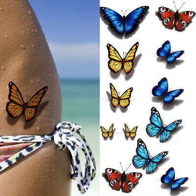 Green Red Butterfly Flowers Silver Tattoos Temporary Stickers Body Art