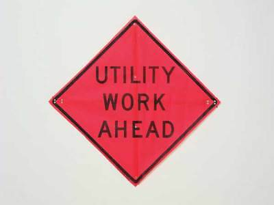"Road Construction Sign, Usa-Sign, C/36-EMO-3FH-HD UTILITY WORK AHEAD, 36""Hx36""W"