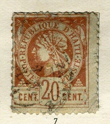 HAITI;  1882 early classic Liberty issue perf  used 20c. value heavily used