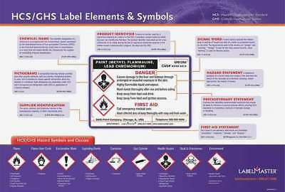 LABELMASTER GHISTRNPST1 Poster, GHS Label Training, 28 x 20In, Eng