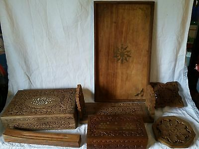 Vintage/Antique Anglo-Indian Hand Carved Wood Book Rack, Trivets, Tray, Boxes