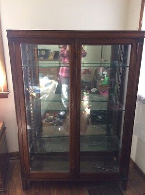 Antique Beautifully patina cherry or oak? Tall curio cabinet, deal!