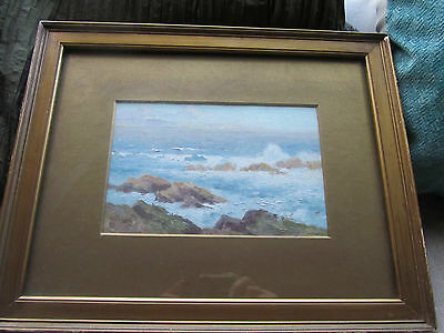 Original Oil on board coastal scene framed Seascape
