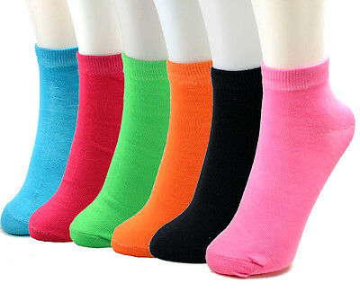 New 6 Pairs Womens Ankle Neon Socks Multi Colors 9-11 Fashion Pink Yellow Solid