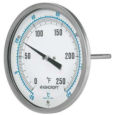 ASHCROFT 50EI60R Dial Thermometer, 5 in Dial, 1/2 in Conn.