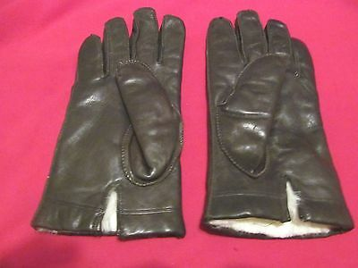 Women's 100% Fur-Lined (Rabbit) Brown Leather Gloves - Large - Philippines - EUC