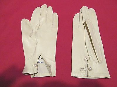 Vtg FOWNES White Washable Leather Gloves - Unlined - Size 8 - Philippines - EUC