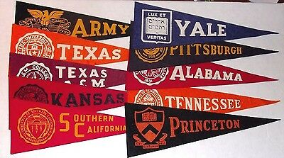 Lot of 10 Vintage College Pennants 1950s - 1960s