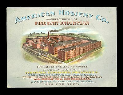American Hosiery Company Lithograph Fine Knit Underwear Silk Art Advertising U27