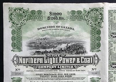 1909 Canada: Northern Light, Power & Coal Company - uncancelled $1000 Gold Bond