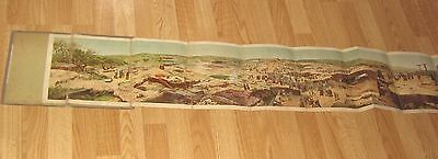 """1890 """"Jerusalem On The Day of the Crucifixion"""" Tapestry, Fold-out Panorama,Rare"""