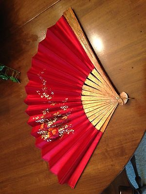 Handpainted Red Silk Chinese Fan