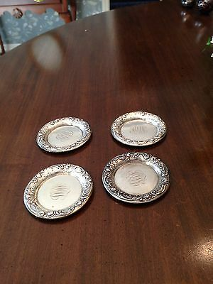 Set of 4 sterling silver ashtrays