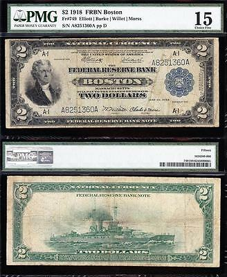 "Nice RARE Choice Fine+ 1918 $2 ""BATTLESHIP"" Boston FRBN Note! PMG 15! A8251360A"