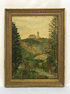 Vintage 1948 Oil Painting Country Farm Landscape Scene Barn Silo On Hill Signed