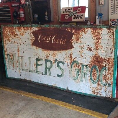 Vintage Store Front Coca Cola Coke  Advertising Fishtail Sign