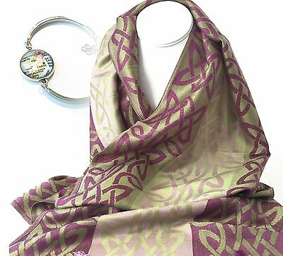 Pashmina & Silk Scarf From Ireland with Celtic Pattern & FREE GIFT! - Rasp & Grn