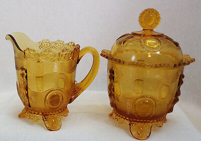 100+ Year Old Indiana Tumbler & Goblet Co. Amber Sugar & Creamer, 7/1*1200fs