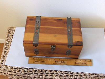 Vintage footed Wooden Box Chest Hinged Lid Brass Latch Storage Box