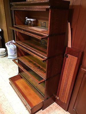 Antique Q-sawn Oak Globe-Wernicke Co. BARRISTER BOOKCASE w/Drawer A 4 stack