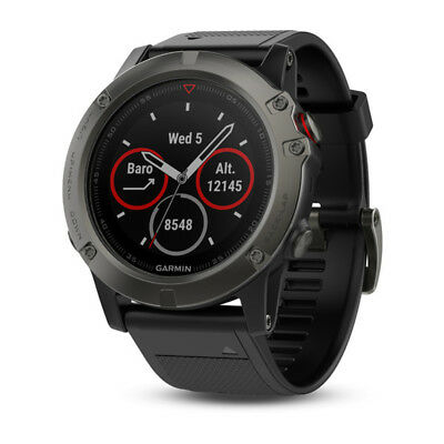 Garmin Fenix 5x Slate Grey Sapphire Multisport GPS Watch 51mm Case Black Band