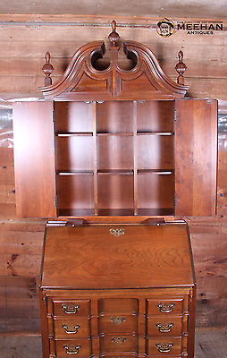Georgian-style block front Cherry Secretary Desk Bookcase by Maddox