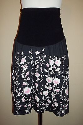 Motherhood Maternity Skirt sz L Black Pink Floral Stretch Panel Career Casual