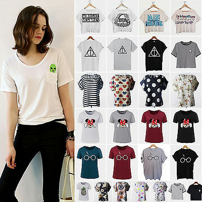 Womens Short Sleeve T-Shirt Summer Crew Neck Loose Casual Tops Tee Shirt Blouse