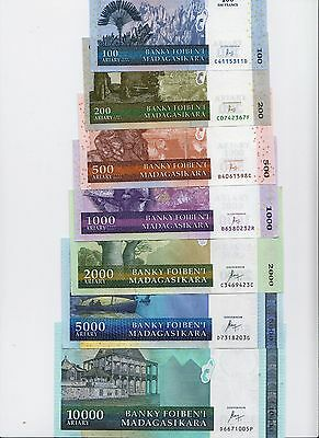 New:Madagascar Banknotes Set, (2016) 100;200;500;1000;2000;5000;10000 Ariary,UNC